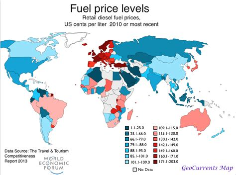 and the world diesel price map geocurrents