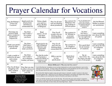daily prayer calendar for vocations diocese of brooklyn
