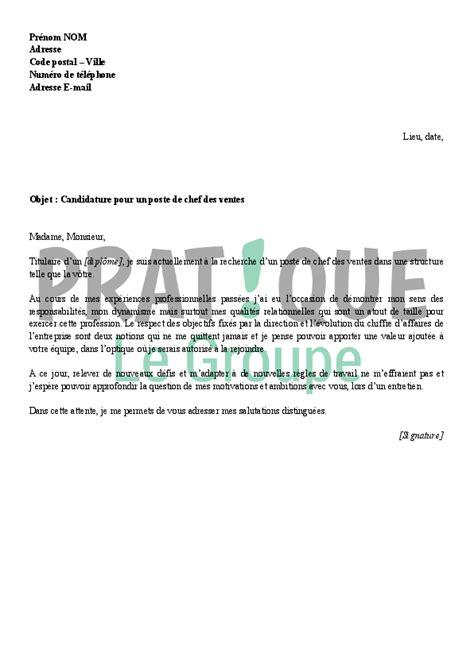 Exemple Lettre De Motivation Parc Zoologique Lettre De Motivation Pour Un Emploi De Chef Des Ventes