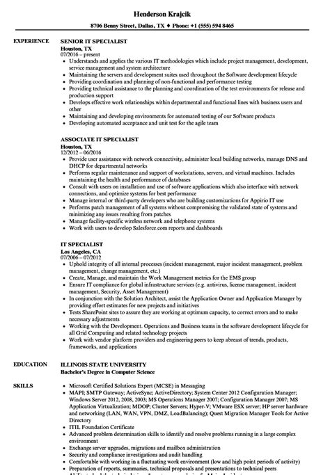 Resume Specialist by It Specialist Resume Sles Velvet
