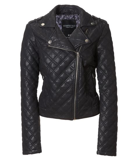Quilted Leather Jackets by A 233 Ropostale Quilted Faux Leather Moto Jacket In Black Lyst