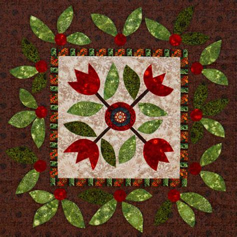 Patchwork Flowers - fusible flowers wall quilt allpeoplequilt