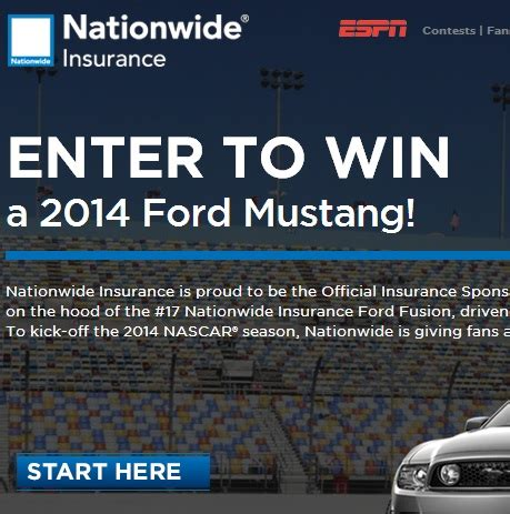 Enter To Win Sweepstakes 2014 - espn nationwide 2014 mustang giveaway sweeps maniac
