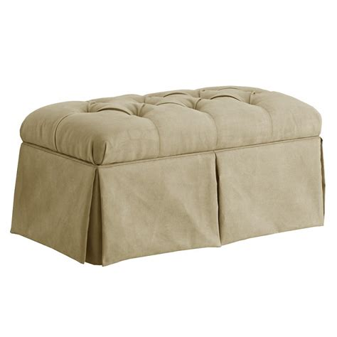 skirted bench dreamfurniture com skirted storage bench in velvet buckwheat