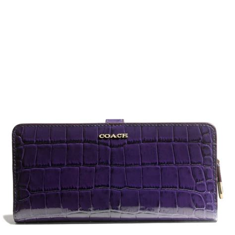 Coach Wallet Embossed Black 1 coach wallet in croc embossed leather in metallic lyst