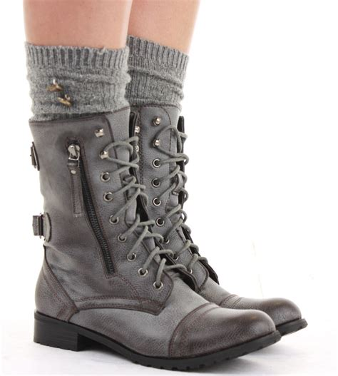 ladies biker style boots ladies worker army flat lace up biker style military shoes