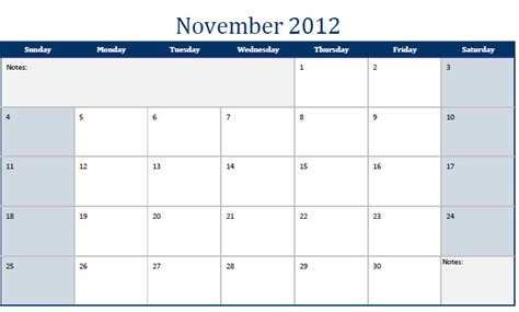 Calendar November 2012 Printable Pdf November 2012 Calendar November 2012