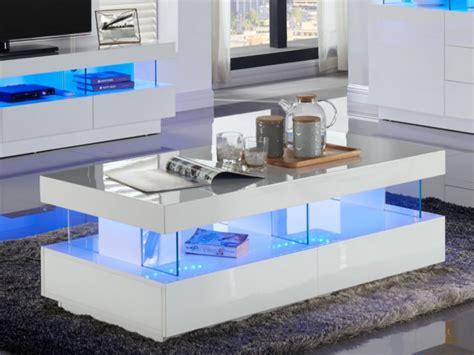 table basse fabio laqu 233 blanc ou noir leds 2 tiroirs
