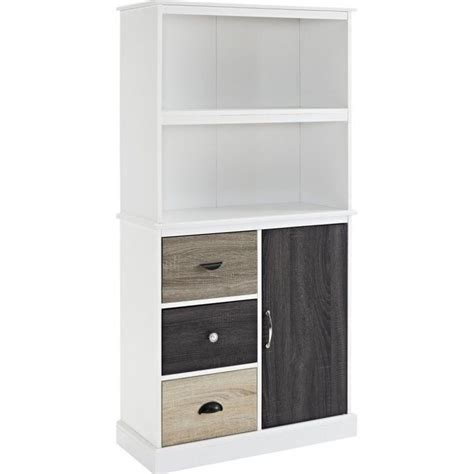 2 Shelf Bookcase With Storage Drawers In White 9634096 White Bookcases With Drawers