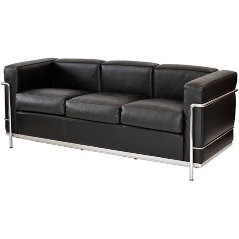 le corbusier leather sofa lc2 three seat leather sofa by le corbusier for cassina at
