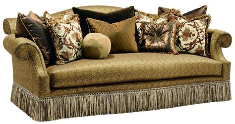 sofa with fringe skirt rolled back sofa with a chic fringed skirt