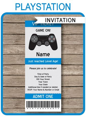 playstation birthday party ticket invitation template