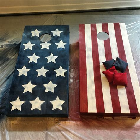 american flag cornhole boards  painted  weathered