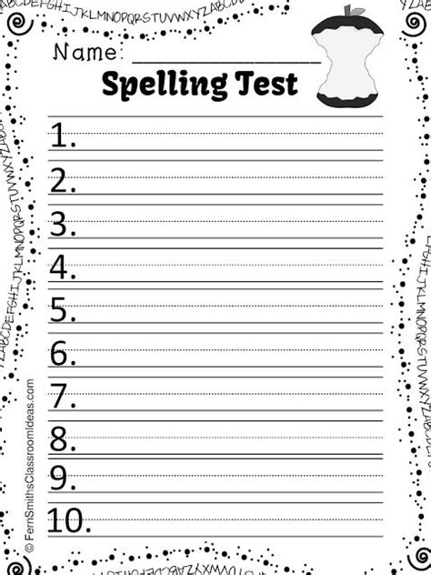 test templates for teachers fern s freebie friday free spelling the ore family word