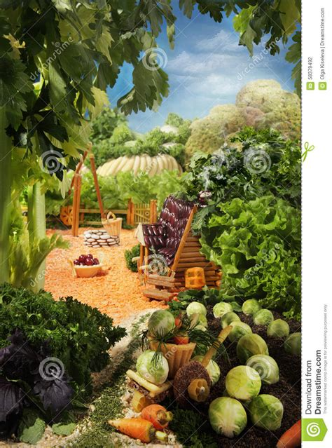 Landscape Photos Made From Food Landscape With House Made From Food Stock Illustration