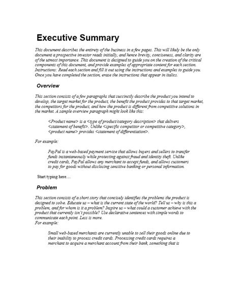 executive summary template report sle executive summary c45ualwork999 org