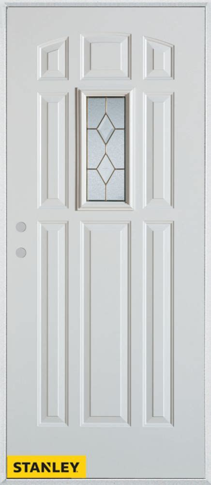 32 Inch Exterior Doors Stanley Doors 32 Inch X 80 Inch Geometric Patina 9 Panel White Steel Entry Door With Right