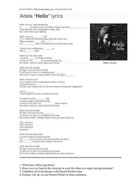 printable lyrics hello adele song worksheet hello by adele present perfect