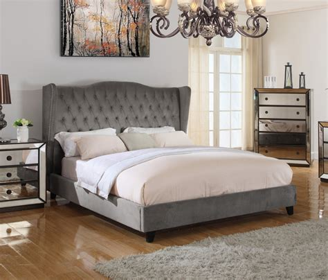 jameson bed t1803 jameson upholstered velvet platform bed otter