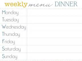 weekly dinner menu planner template 8 best images of dinner menu planner template printable