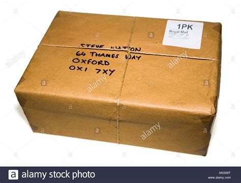 Apn Address Lookup Traditional Parcel Wrapped In Brown Paper And String With Post Office Stock Photo