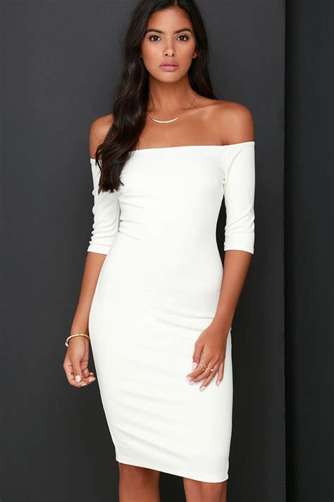Ivory The Shoulder Dress by Chic Ivory Dress The Shoulder Dress Midi Dress 52 00