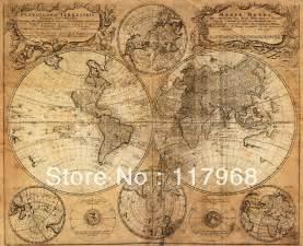 Upholstery Fabric Long Island Antique Imitated 1746 World Map Old Memory World Sailing