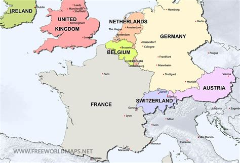 map of west europe with cities western europe political map