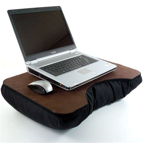 Large Laptop Desk Large Brown Faux Leather Laptop Desk With Black Pillow