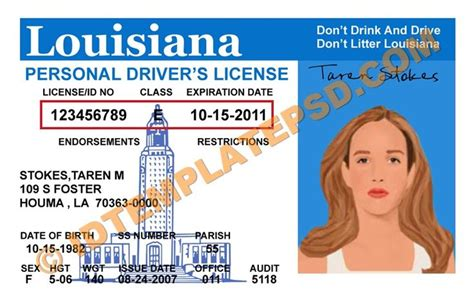 louisiana id template this is louisiana usa state drivers license psd
