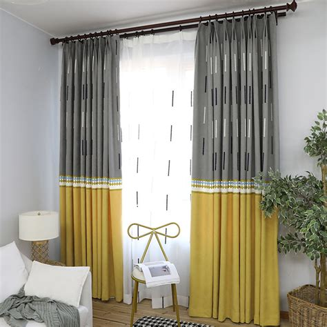 color block curtains mustard yellow and gray modern two tone color block