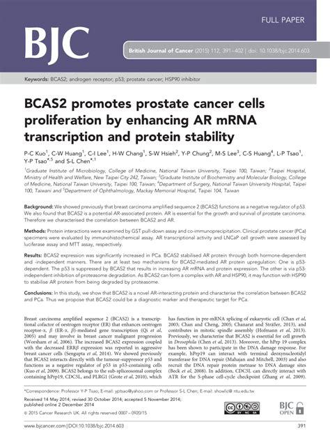 Bcas2 Promotes Prostate Cancer Cells Proliferation By | bcas2 promotes prostate cancer cells pdf download