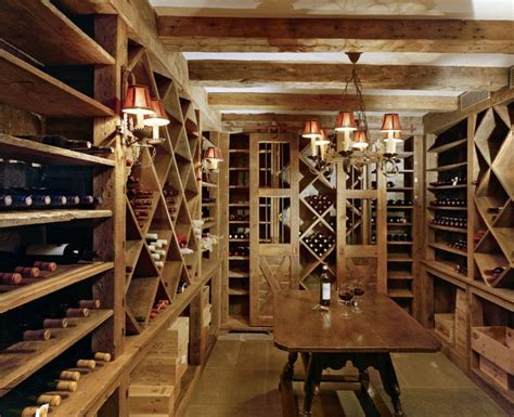 wine cellar in the basement of this restored barn