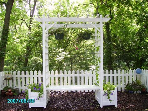 Arbor With Planters by Bench With Built In Arbor Trel 7 Ft Rectangle Vinyl