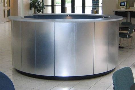 Hand Made Brushed Aluminum Circular Reception Desk By Yb Circular Reception Desk