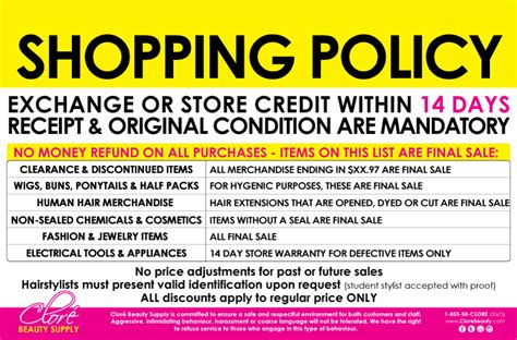 no refund policy sle letter retail shopping policy