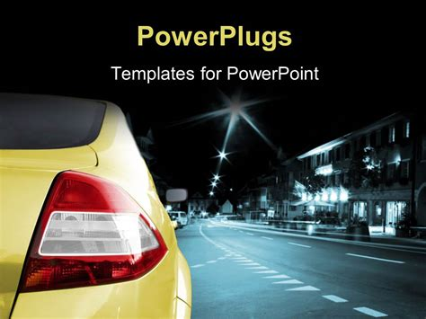 powerpoint template a car on a road with lights in the