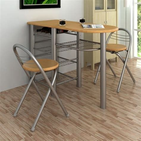 Dining Table With Bar Stools Small Kitchen Dining Table And 2 Chairs Bar Stools Wine Rack Storage Shelves Ebay