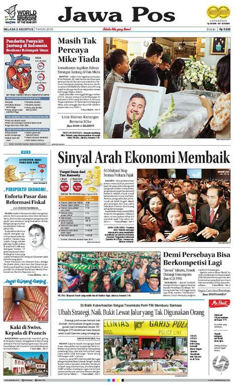 layout koran jawa pos jual koran jawa pos 02 agustus 2016 scoop indonesia