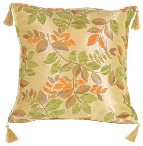 Green And Orange Pillows by Pillow Decor Leaf Textures In Green And Orange Throw