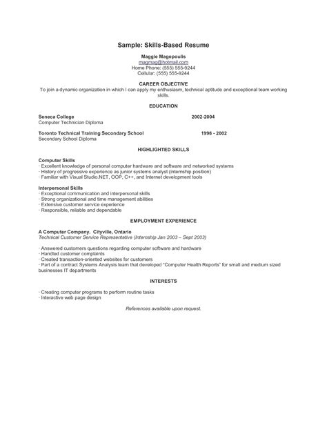 sle skill based resume 100 business cv exles cv templates horticulture
