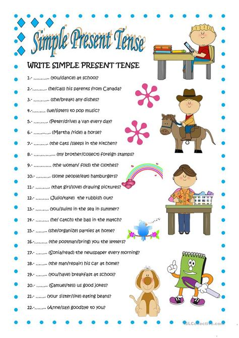 Simple Present Tense Worksheets For 2nd Grade by Simple Present Tense 2 Worksheet Free Esl Printable