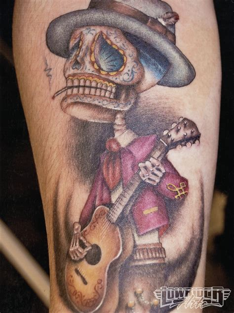 band skeleton playing guitar tattoo design photo 1