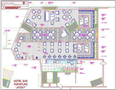 bar  restaurant interior floor plan dwg drawing