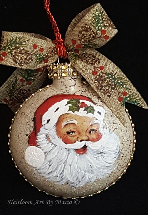 hand painted santa ornament christmas decor santa