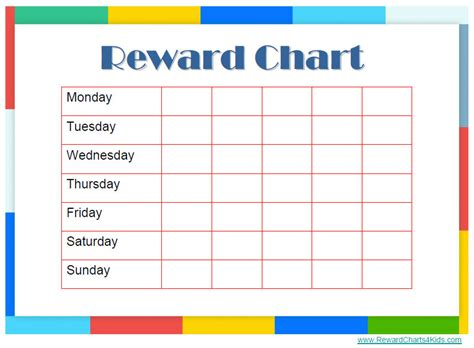reward chart template word reward chart templates find word templates
