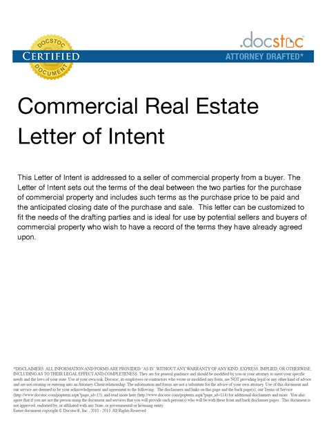 Letter Of Intent To Lease Commercial Space Sle Letter Of Interest To Purchase Property Sle Templates