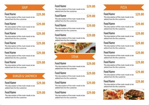 free restaurant menu templates sles and templates