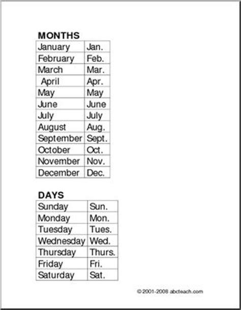 Calendar Abbreviation List Months And Days And Abbreviations Abcteach