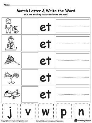 word family worksheets 3 letter et word family match letter and write the word myteachingstation